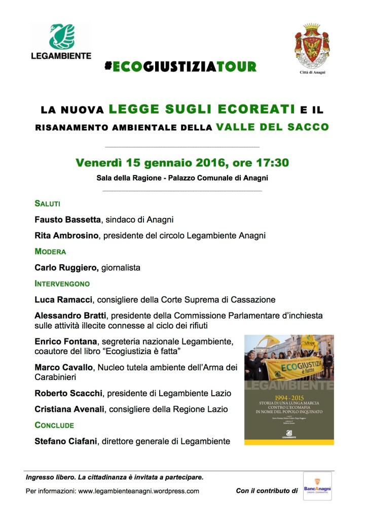 locandina ecogiustiziatour Anagni 15 gennaio 2016